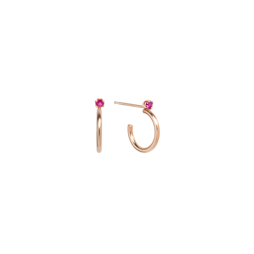 14k Thick Huggie Hoops with Prong Rubies