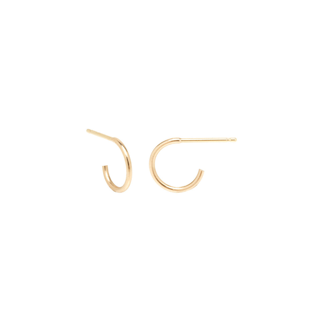 14k tiny huggie hoops