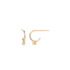 14k diamond prong stud thin huggie hoops