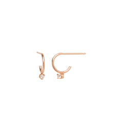 14k diamond prong thin huggie hoops
