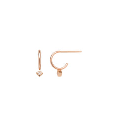 14k princess diamond stud thin huggie hoops