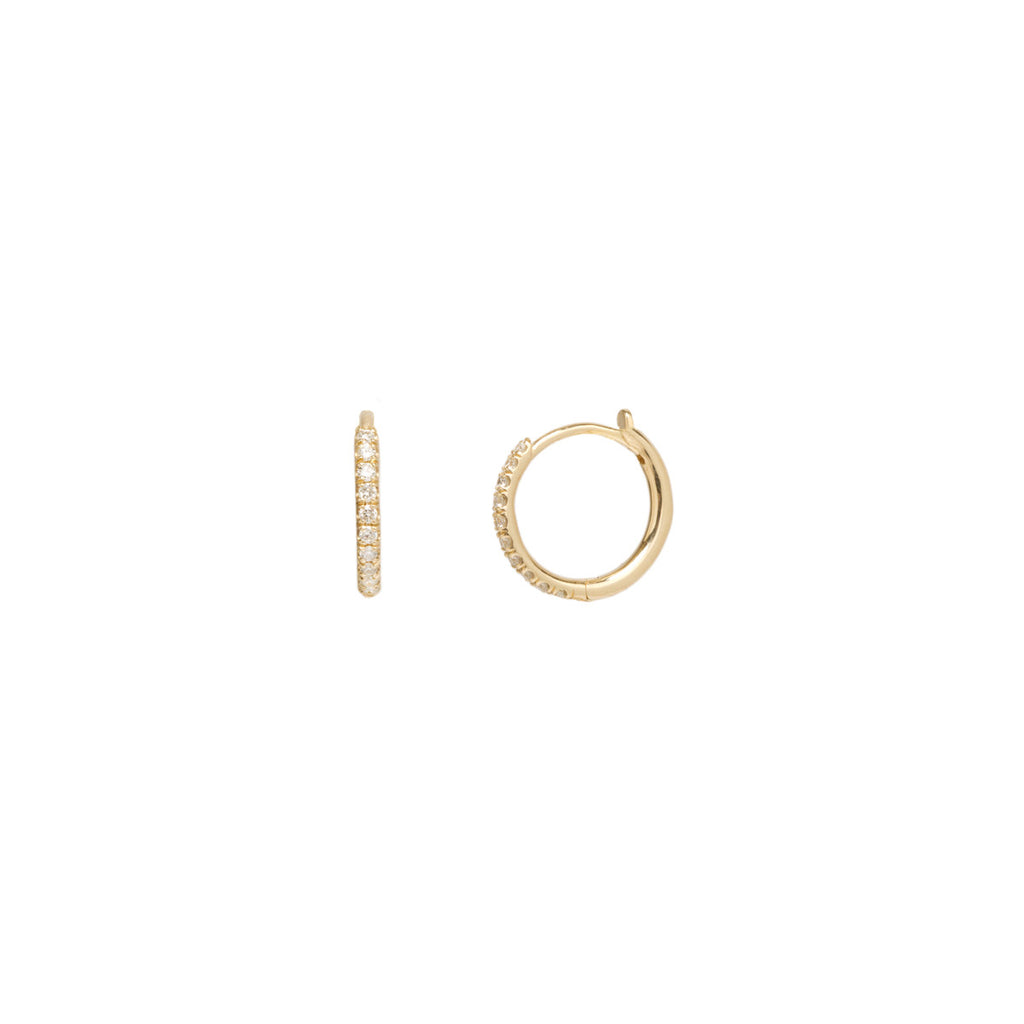 14k pave diamond hinge huggie hoops