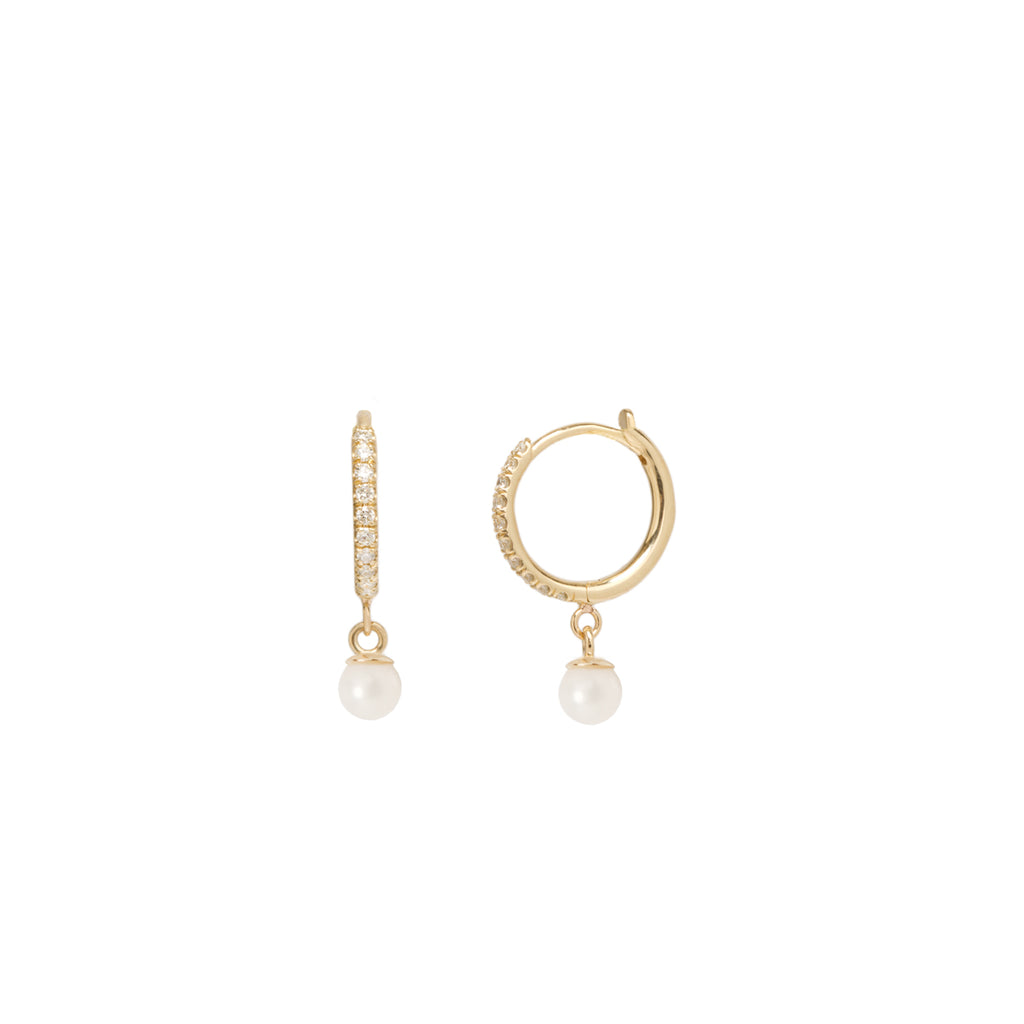 10ad1bccb Zoë Chicco 14kt Gold Dangling Pearl Pave Diamond Huggie Hoop Earring ...