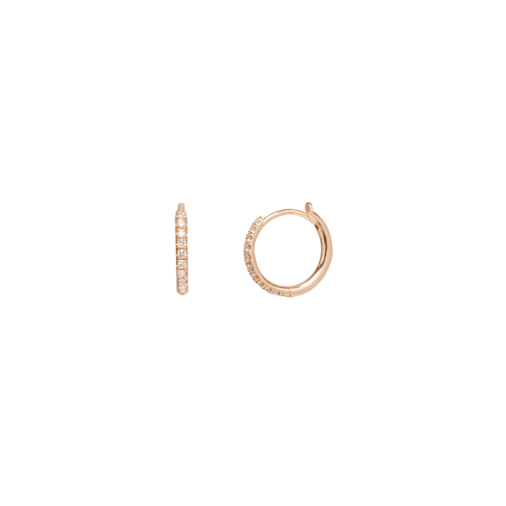 14k medium pave diamond hinge huggie hoops