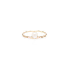 14k pearl and pave diamond ring