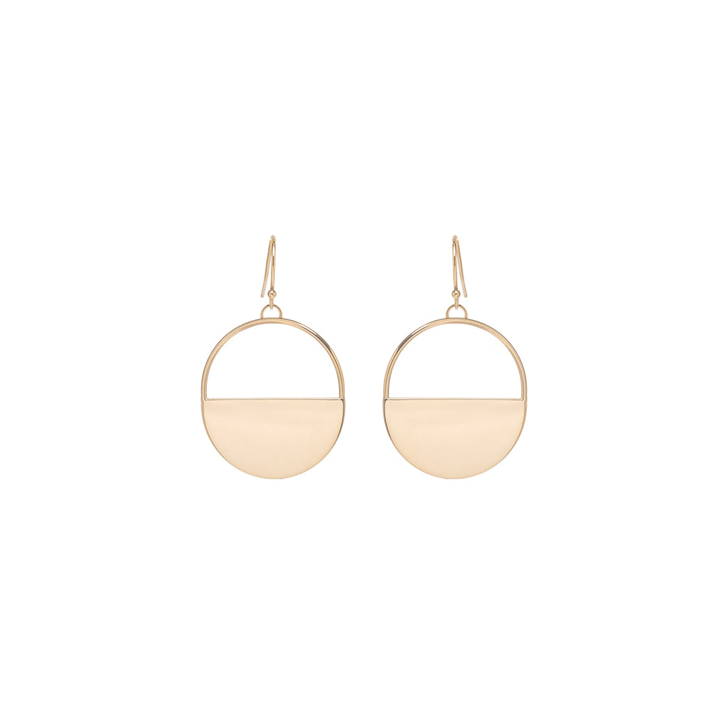 14k large round horizon dangling earrings