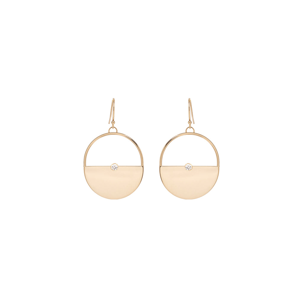 14k large round horizon dangling earrings with bezel diamonds