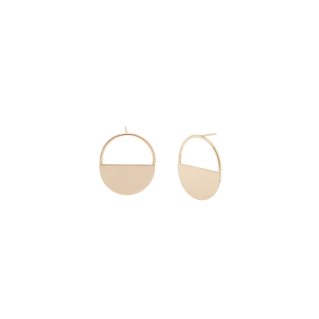 14k medium round horizon earrings