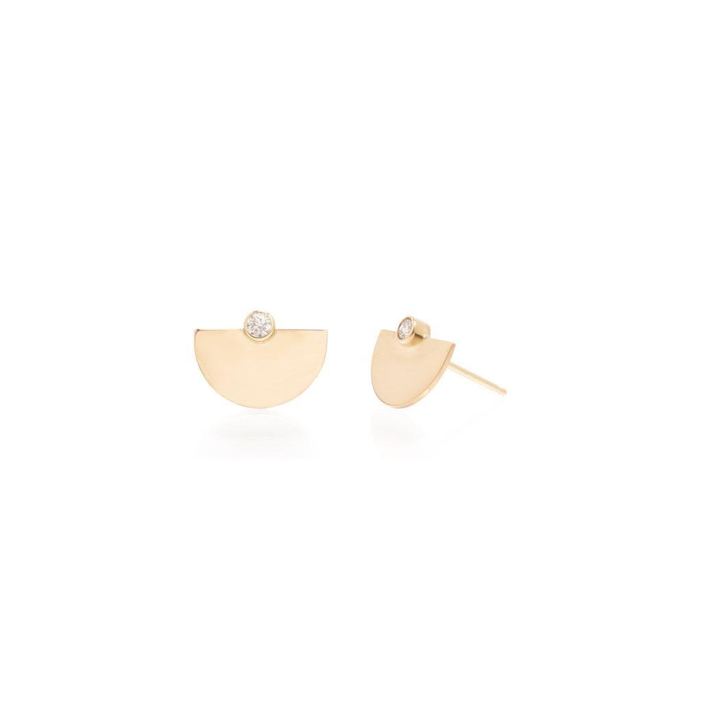 Zoë Chicco 14kt Yellow Gold White Diamond Small Horizon Stud Earrings