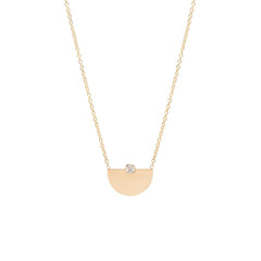 14k bezel diamond small horizon necklace