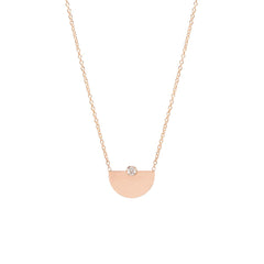 Zoë Chicco 14kt Rose Gold White Diamond Small Horizon Necklace