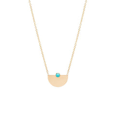 14k bezel turquoise small horizon necklace