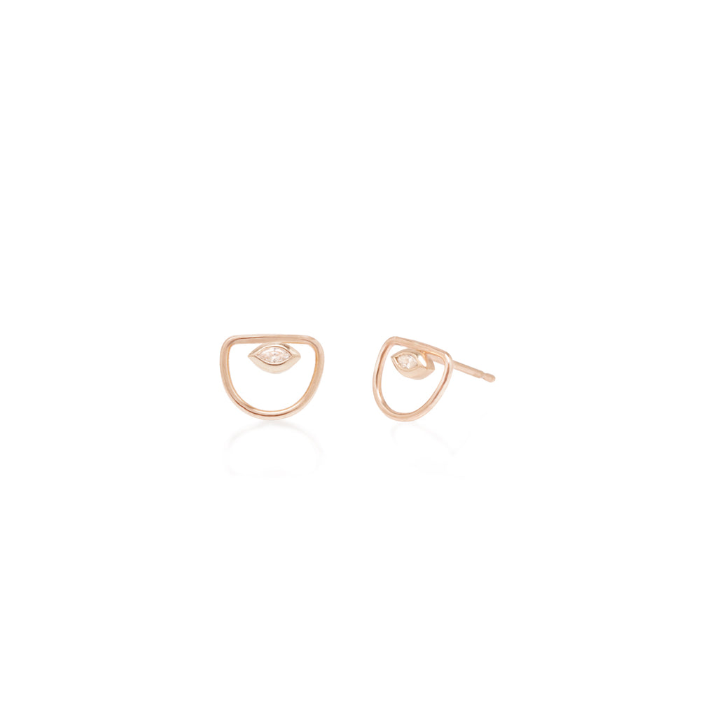 Zoë Chicco 14kt Gold Floating Marquis Diamond Open Horizon Stud Earrings