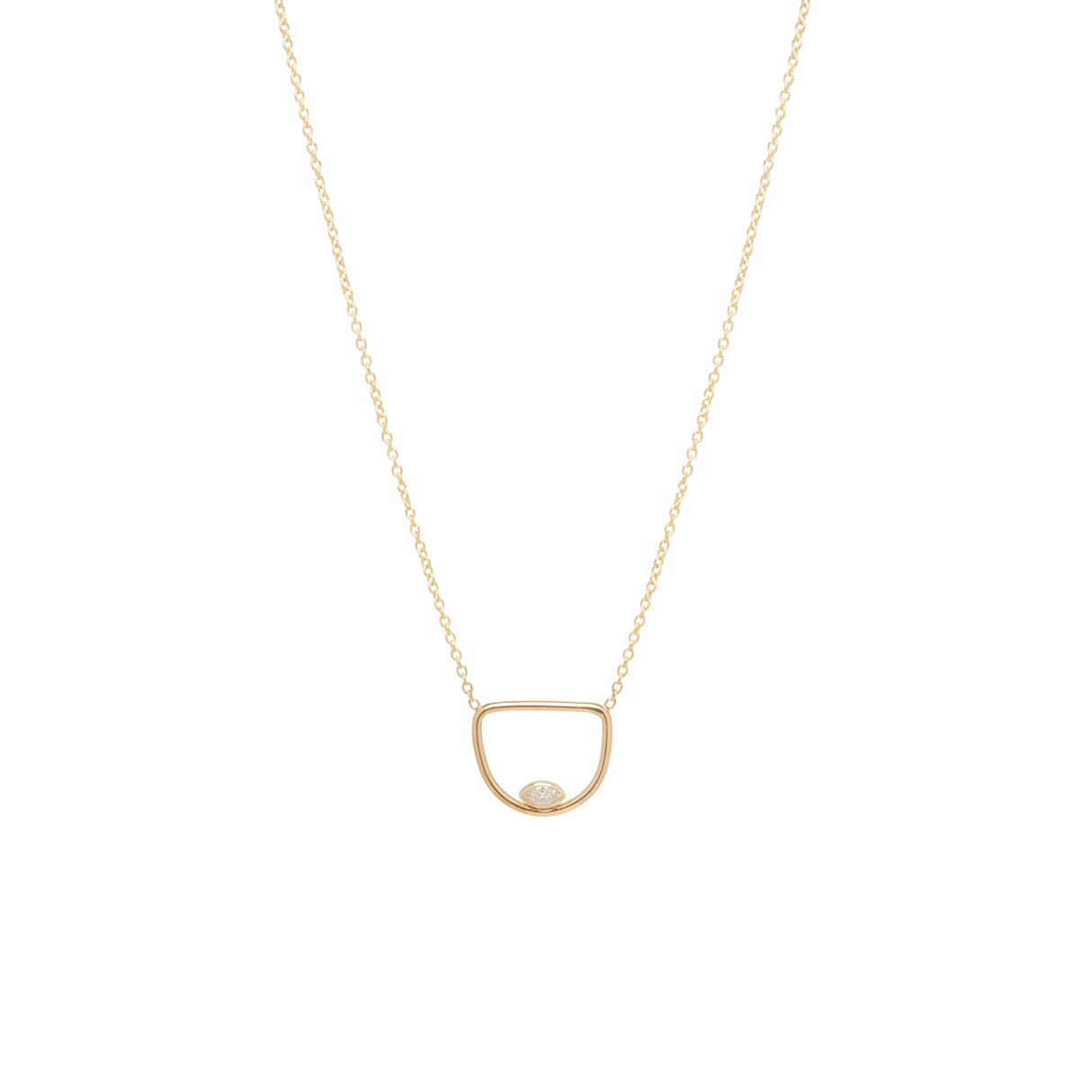 Zoë Chicco 14kt Yellow Gold Floating Marquis Diamond Open Horizon Necklace