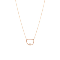 Zoë Chicco 14kt Rose Gold Floating Marquis Diamond Open Horizon Necklace
