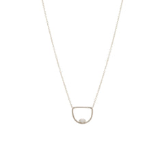 Zoë Chicco 14kt White Gold Floating Marquis Diamond Open Horizon Necklace