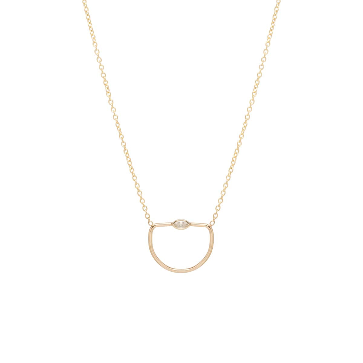 14k marquis diamond open horizon necklace