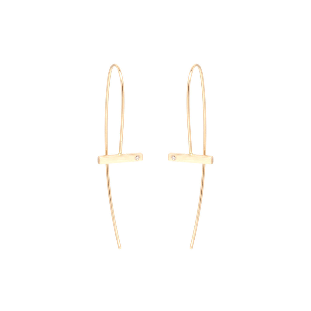 14k diamond horizontal bar earrings