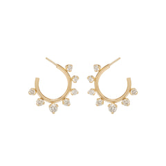 Zoë Chicco 14kt Yellow Gold Graduated Prong Set Diamonds Front to Back Circle Hoops