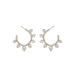 Zoë Chicco 14kt White Gold Graduated Prong Set Diamonds Front to Back Circle Hoops