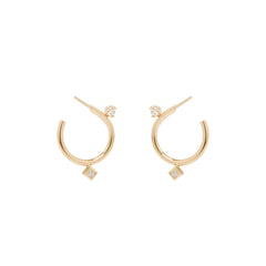 14k mixed diamond small front to back circle hoops