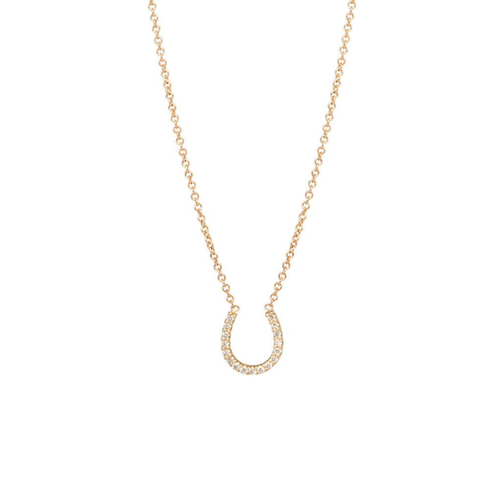 14k pave horseshoe necklace