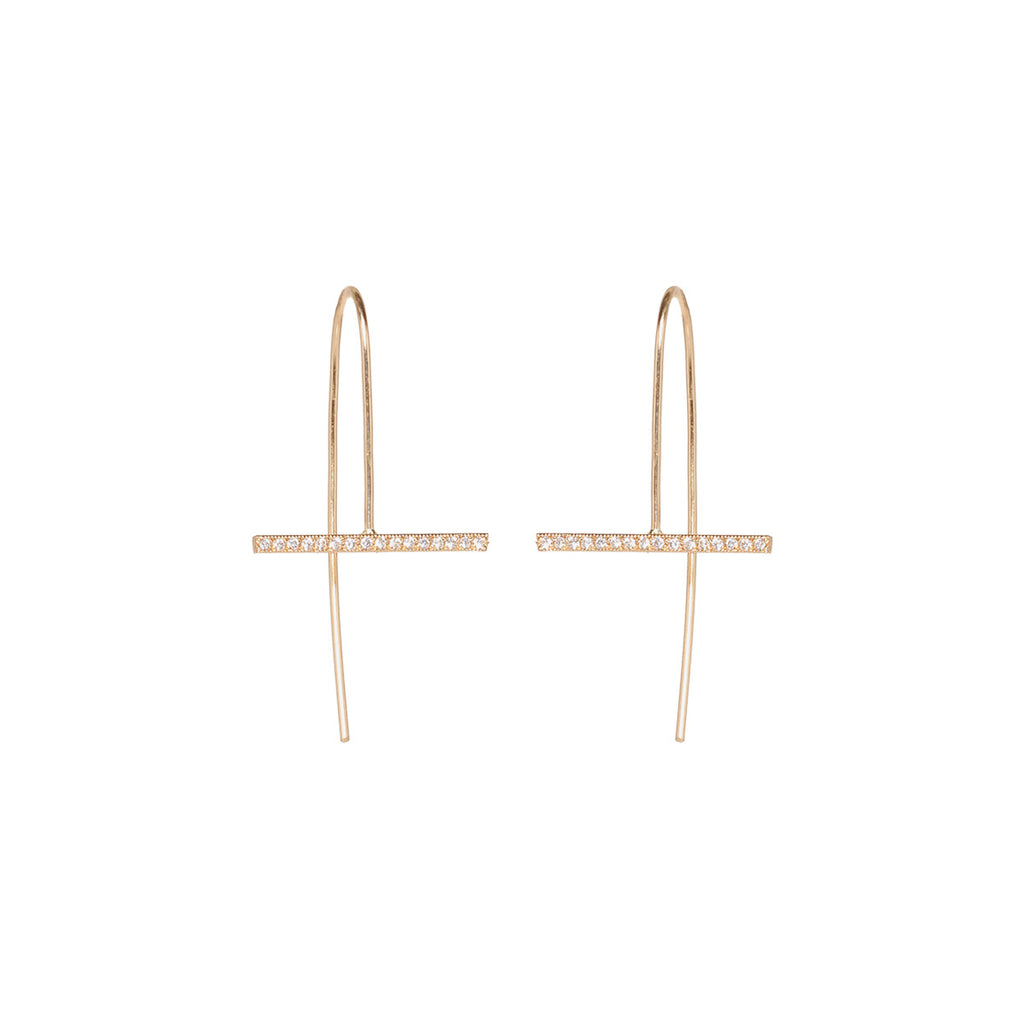 14k horizontal bar pave earrings