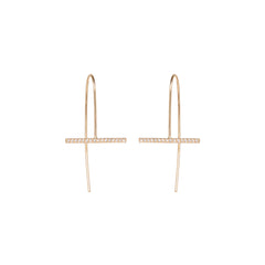 Zoë Chicco 14kt Yellow Gold Horizontal Bar Diamond Pave Earrings