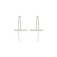 Zoë Chicco 14kt White Gold Horizontal Bar Diamond Pave Earrings