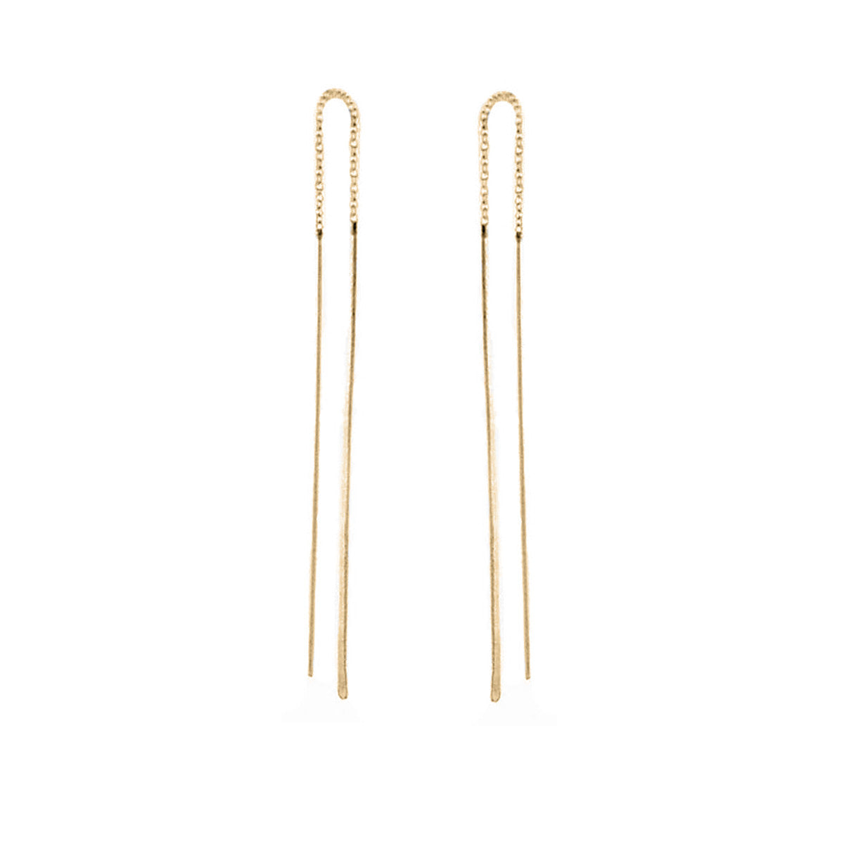 14k hammered wire threader earrings