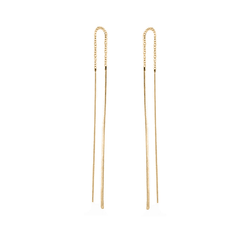 Zoë Chicco 14kt Yellow Gold Hammered Wire Threader Earrings