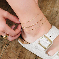 14k small curb chain anklet with single floating diamond