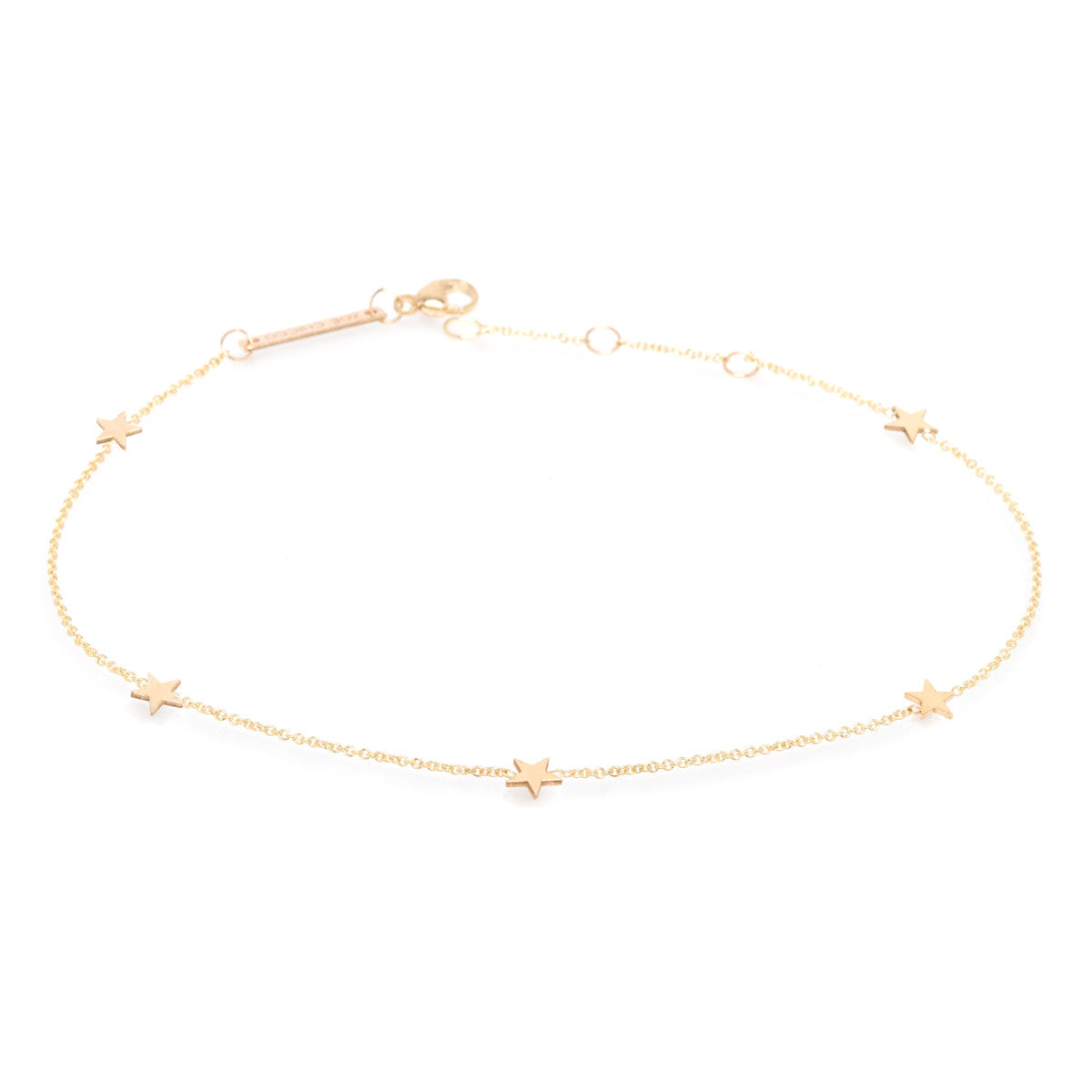 14k five itty bitty stars anklet