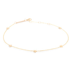 Zoë Chicco 14kt Yellow Gold Five Itty Bitty Stars Anklet
