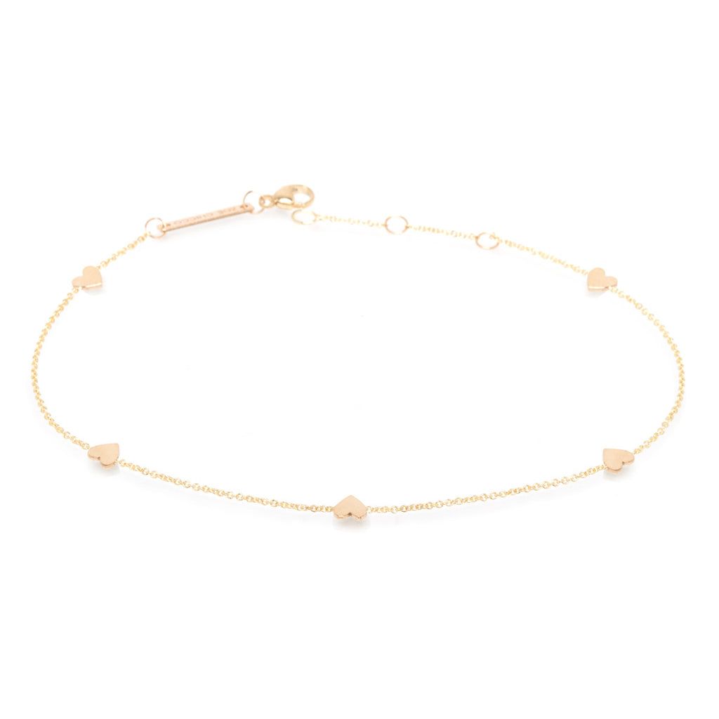 Zoë Chicco 14kt Yellow Gold Five Itty Bitty Hearts Anklet