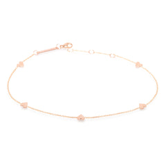 Zoë Chicco 14kt Rose Gold Five Itty Bitty Hearts Anklet