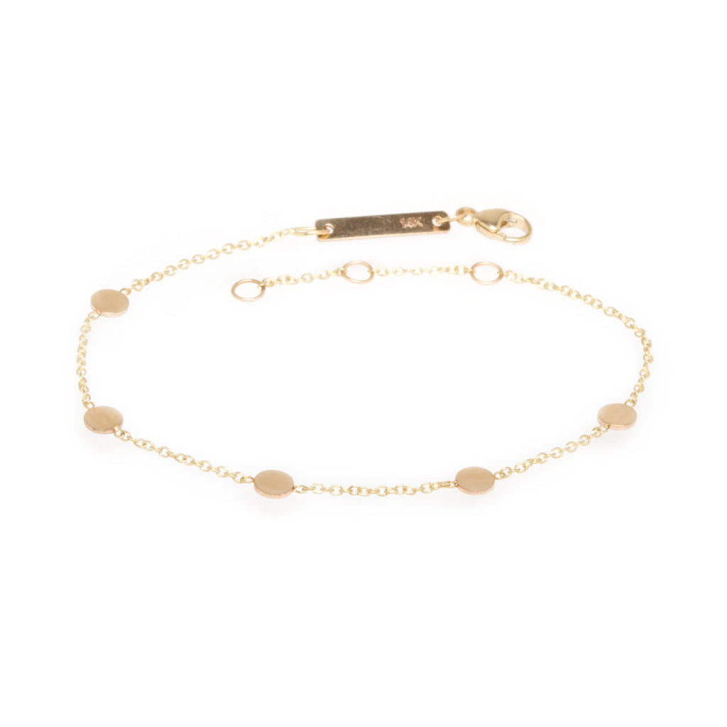 Zoë Chicco 14kt Yellow Gold Itty Bitty Round Disc Bracelet