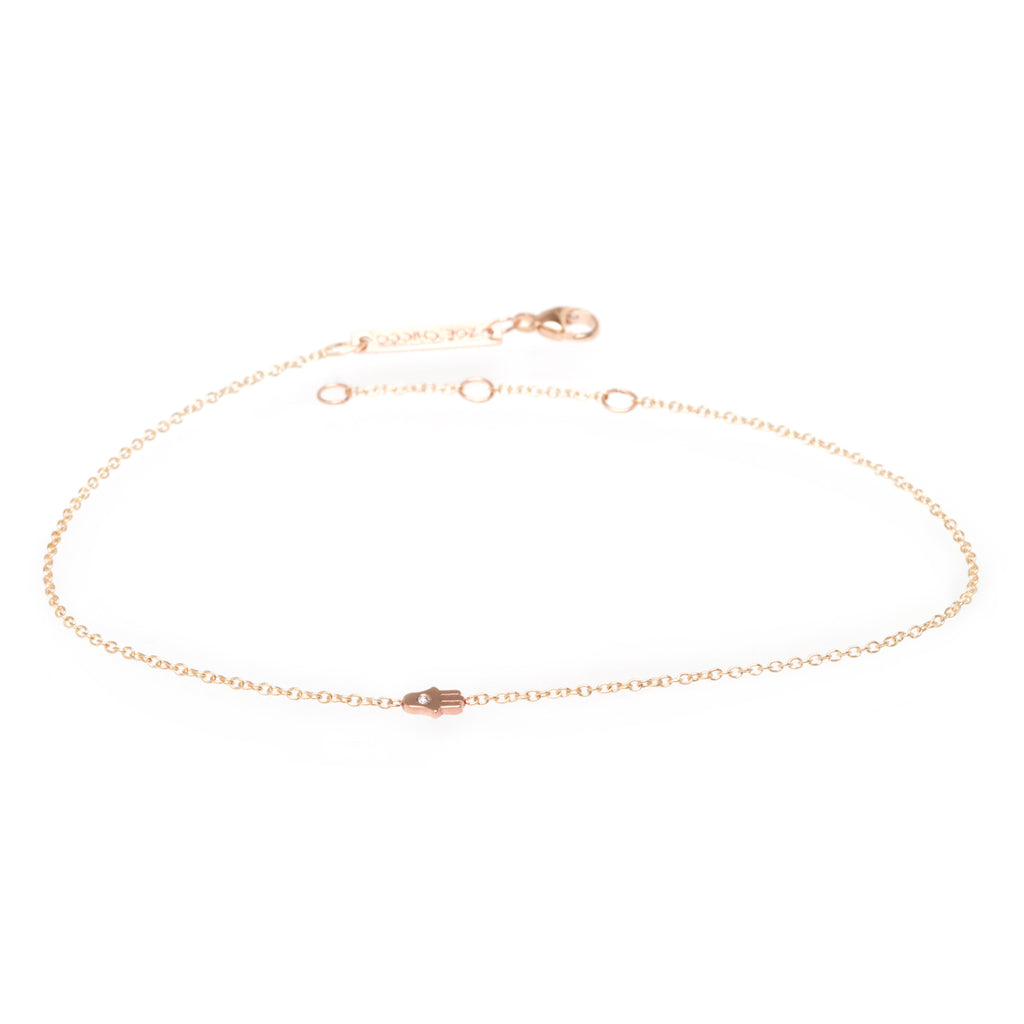 Zoë Chicco 14kt Yellow Gold White Diamond Itty Bitty Hamsa Anklet