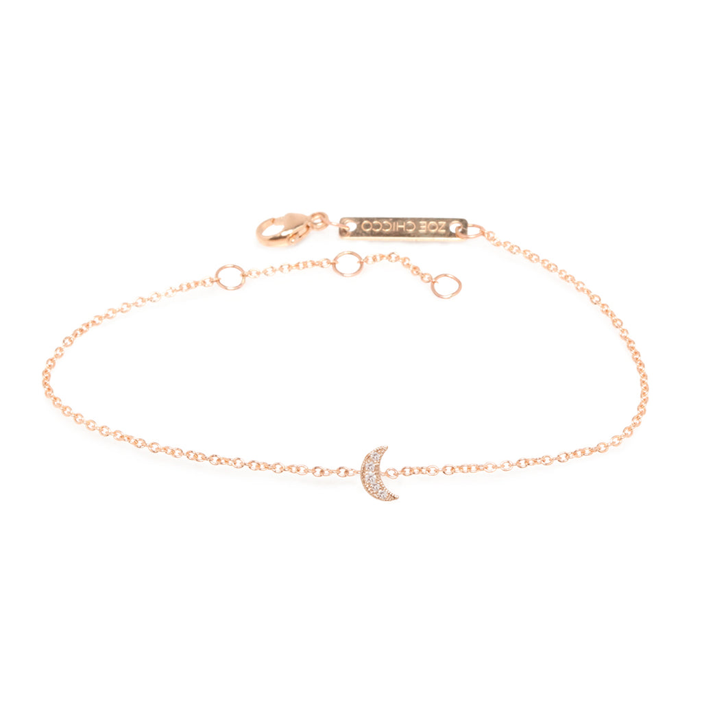 yellow gold chain bracelet with a pave diamond moon