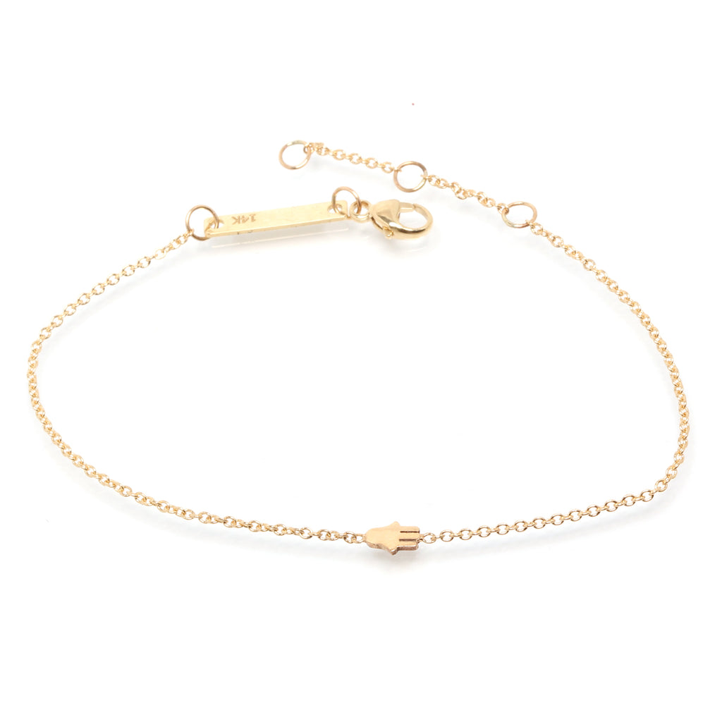 Zoë Chicco 14kt Yellow Gold Itty Bitty Hamsa Bracelet