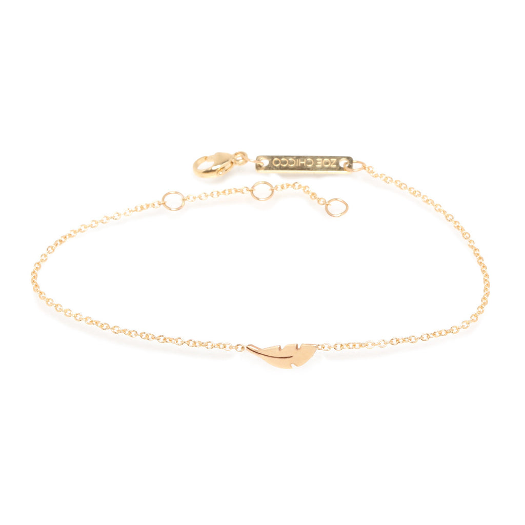 Zoë Chicco 14kt Yellow Gold Itty Bitty Feather Bracelet