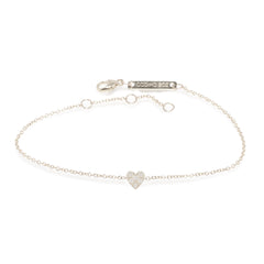 Zoë Chicco 14kt White Gold Itty Bitty Pave Heart Bracelet