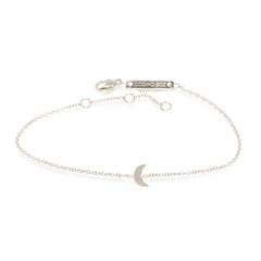 Zoë Chicco 14kt White Gold Itty Bitty Crescent Moon Bracelet