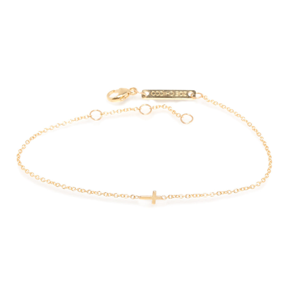 Zoë Chicco 14kt Yellow Gold Itty Bitty Cross Bracelet