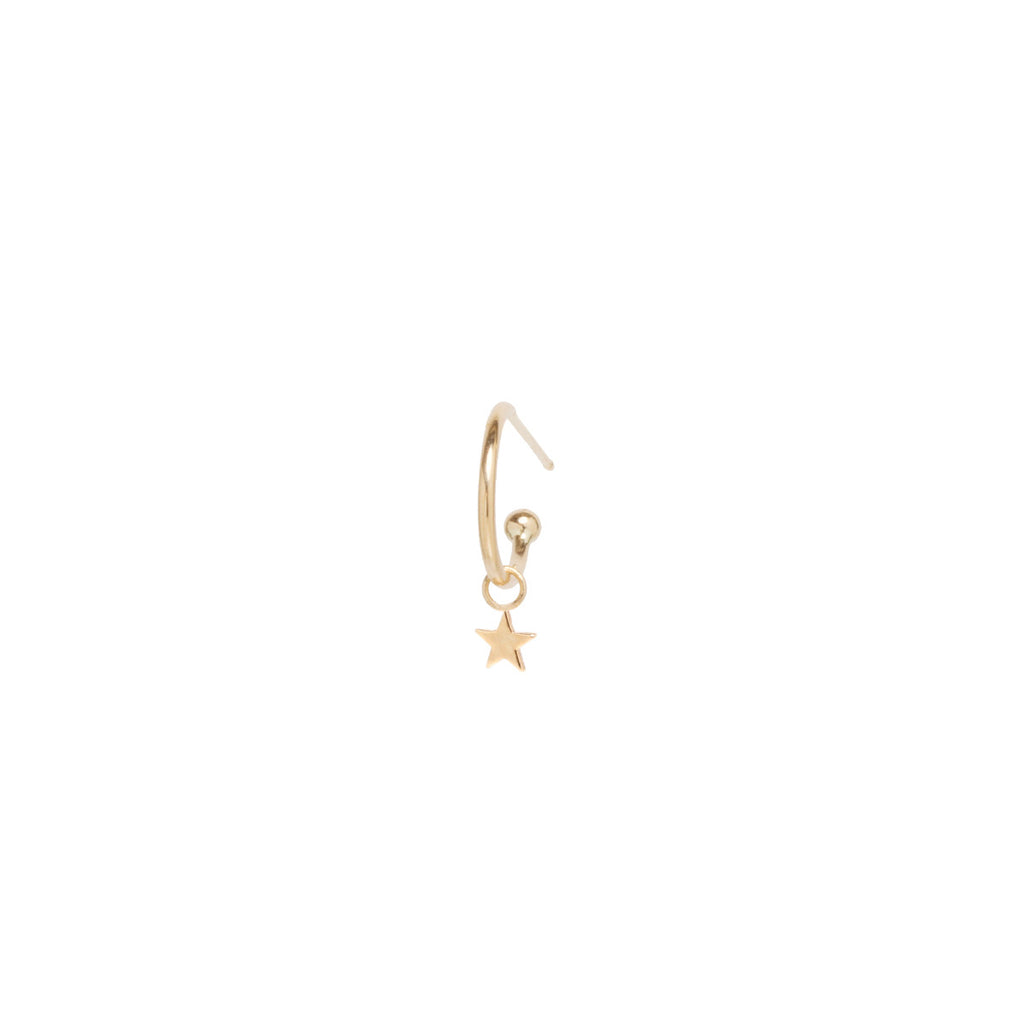 14k dangle tiny star charm huggie hoop