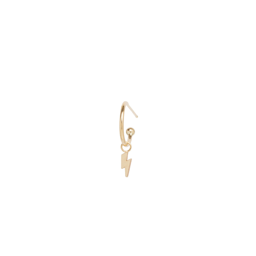 14k dangle tiny lightning bolt charm huggie hoop