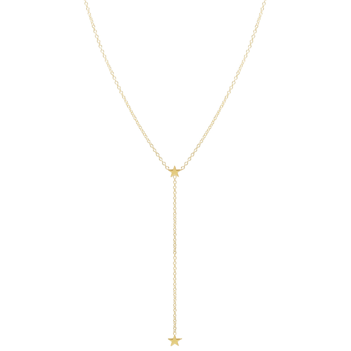 Zoë Chicco 14kt Yellow Gold Itty Bitty 2 Star Lariat Necklace