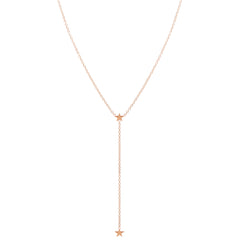 Zoë Chicco 14kt Rose Gold Itty Bitty 2 Star Lariat Necklace