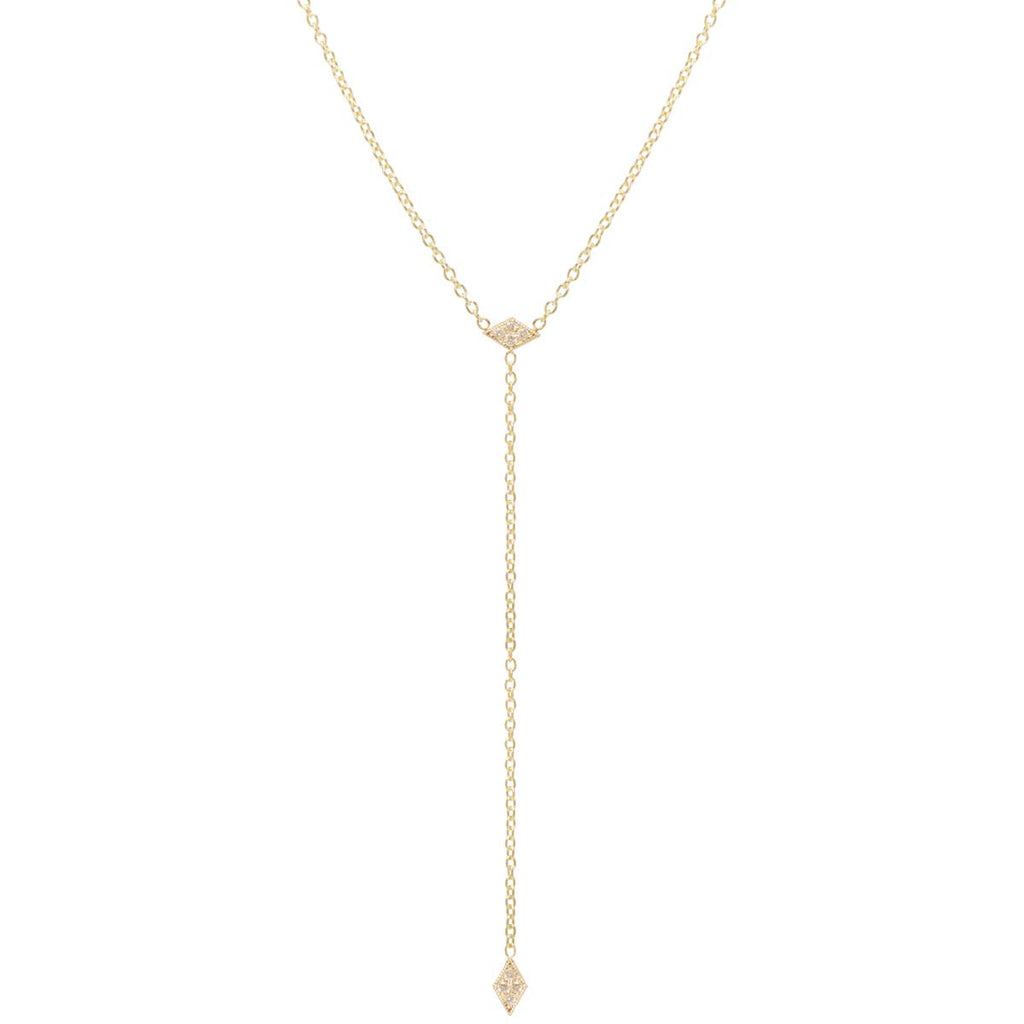 Zoë Chicco 14kt Yellow Gold Itty Bitty Pave Diamond Diamond Shape Lariat