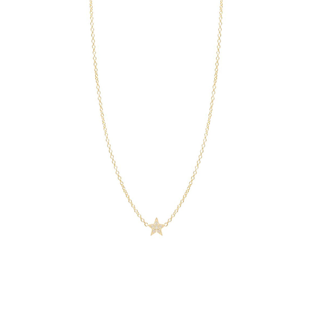 Zoë Chicco 14kt Yellow Gold Itty Bitty Pave Diamond Star Necklace